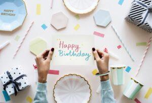Happy Birthday card in a birthday party